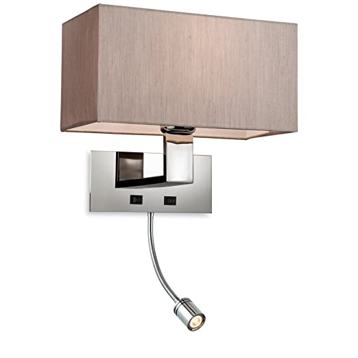 modern polished chrome oyster bedroom wall light with reading light 2 bulb bedroom - Bedroom Wall Lights