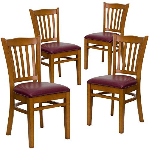 Flash Furniture 4 Pk. HERCULES Series Vertical Slat Back Cherry Wood Restaurant Chair - Burgundy Vinyl Seat ()