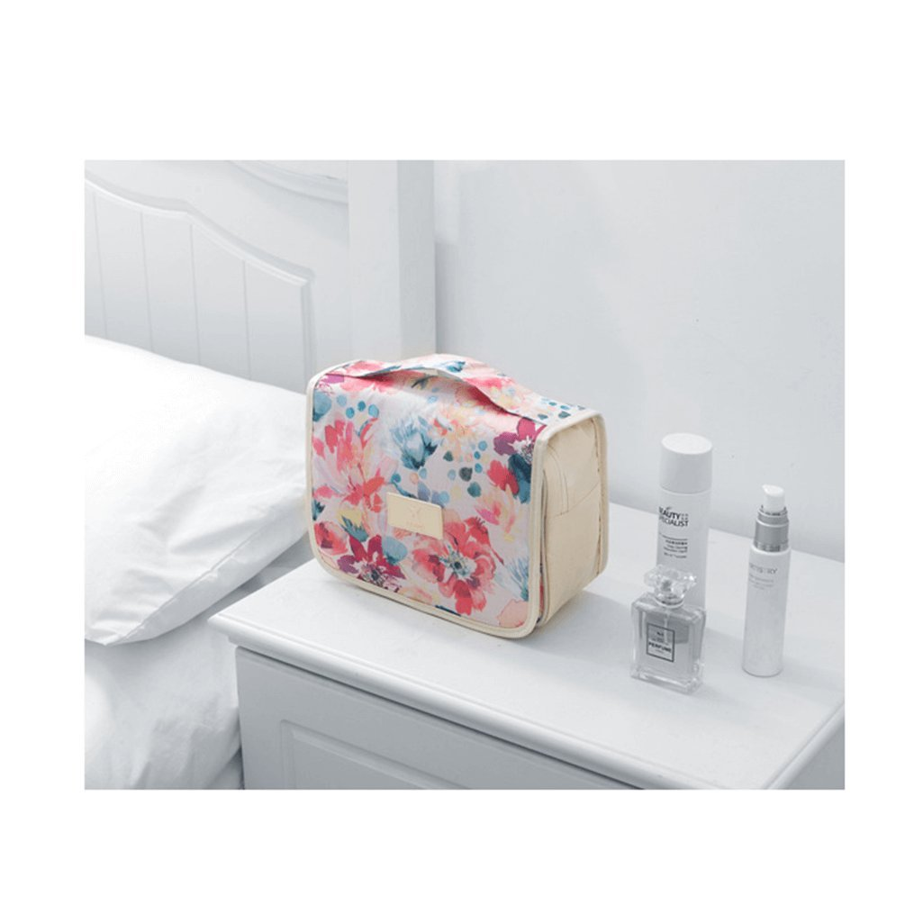 Itraveller Hanging Toiletry Bag-Portable Travel Organizer Cosmetic Make up Bag case for Women Men Kit with Hanging Hook for vacation (White Baroque) by Ac.y.c (Image #4)