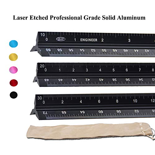 QLLY Laser Etched 12-inch Triangular Architect & Engineer Scale Ruler - Professional Grade Solid Aluminum - Ideal for Architects, Students, Draftsman, and Engineers (Engineer-Scale-Black) by QLLY
