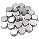 Md trade Small Aluminum Tin Jars Silver Round Cosmetic Sample Empty Container with Screw Cap for Lip Balm, Salve, Make Up, Eye Shadow Powder 24 Pack,15ml