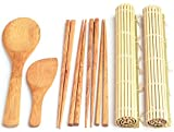 100% Bamboo Sushi Making Kit - 2 Sushi Mats - 4 Sets of Chopsticks - Rice Paddle - Rice Spreader - BONUS Sushi Making eBook