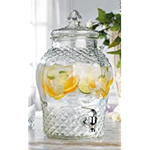 Glass Diamond Large Drink Beverage Dispenser with Easy Push Spigot (2 Gallons)