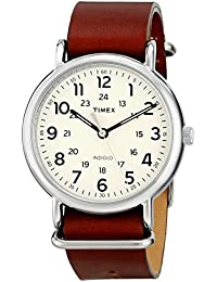 Unisex T2P495 Weekender 40 Brown Leather Slip-Thru Strap Watch