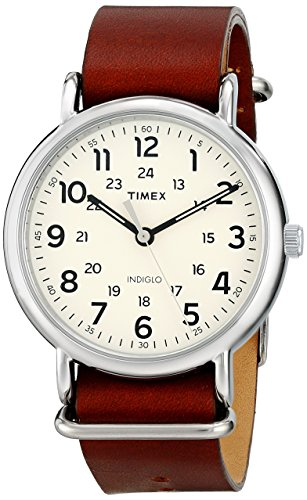 (Timex Unisex T2P495 Weekender 40 Brown Leather Slip-Thru Strap Watch)