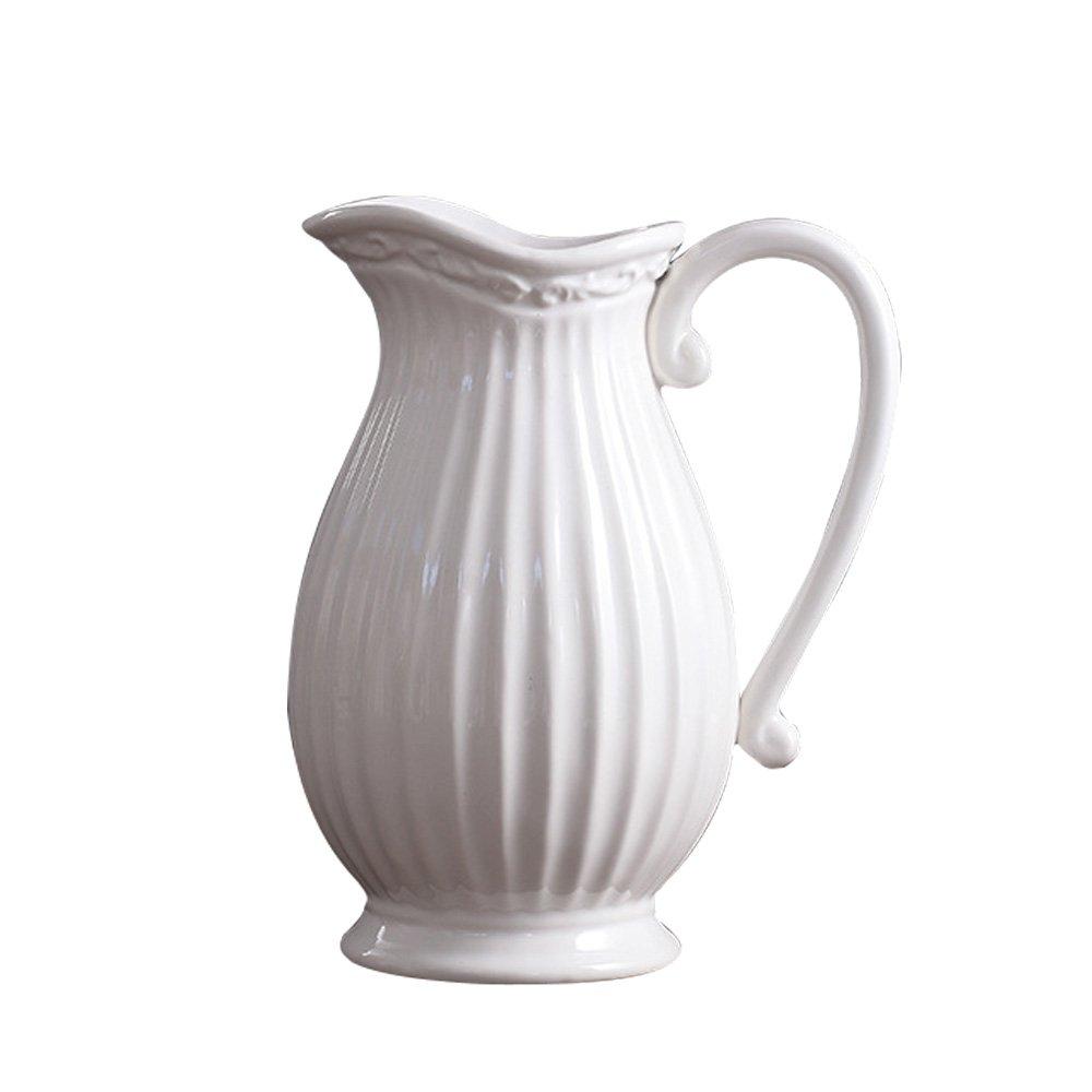 Jomop Decorative Pitcher, Embellished Pitcher Ceramic Vase Home Decor Gift (9.8 in, White) by Jomop