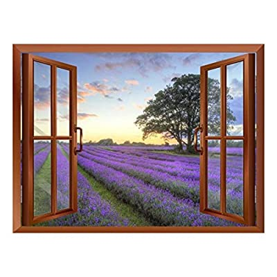 Sunrise on a Purple Filed Removable Wall Sticker Wall Mural, Created Just For You, Gorgeous Artistry