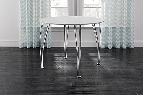 Novogratz Round Dining Table with Chrome Plated Legs, White by Novogratz (Image #6)
