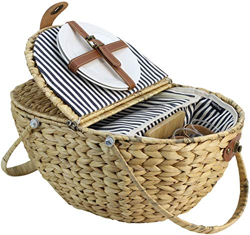 (HappyPicnic Seagrass Picnic Basket for 2 Persons, Picnic Hamper Set with Insulated Cooler Compartment, Portable Basket with Foldable Handles(Navy Stripe))