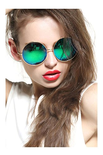 GEELOOK Oversized Round Circle Mirrored Hippie Hipster Sunglasses - Metal - Hipster Glasses Green