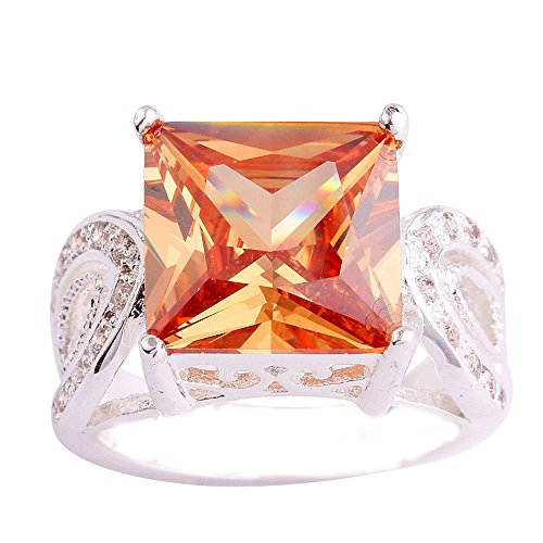 Empsoul 925 Sterling Silver Natural Novelty Filled Princess Cut 6.5ct Morganite Topaz Engagement Proposal Ring