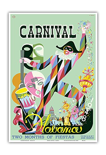 1948 Carnival Havana, Cuba - Two Months of Fiestas, February and March - Vintage World Travel Poster by Enrique Caravia c.1948 - Master Art Print - 13in x 19in