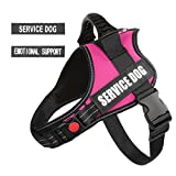 "PawShoppie Real Reflective Service Dog Vest Harness 2 Free Removable Service Dog 2 ""Emotional Support'' Patches, Woven Polyester & Nylon, Comfy Soft Padding(Pink) (XS(Girth:18-22''))"