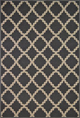 Adgo Collection Contemporary Moroccan Mediterranean Trellis Lattice Design Rubber-Backed Non-Slip Non-Skid Area Rugs, Grey Beige , 3'3
