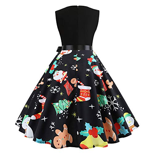 iSkylie Women Sleeveless Party Picnic Party Cocktail Dress Christmas Cross Bow Tie Notes Print Vintage Dress Party Dress(L,Black)