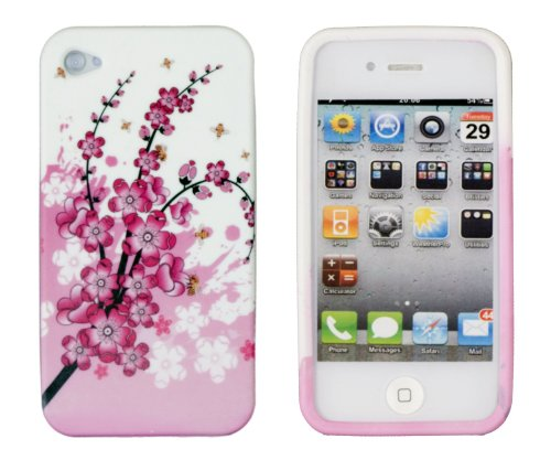 Pink Cherry Blossoms Flexible Gel Case for Apple iPhone 4, 4S (AT&T, Sprint & Verizon)