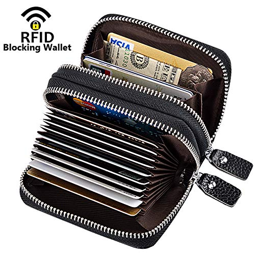 MaxGear RFID Blocking Credit Card Holder Genuine Leather Credit Card Wallets Credit Card Case Coin Credit Card Purse for Women or Men Credit Cards Organizer Black