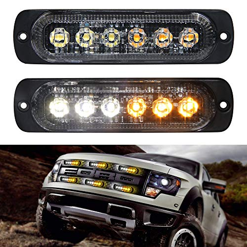 Led Strobe Lights White Amber Flush Mount Led light bar 6 LED Caution Emergency Construction Waterproof 2pcs Pack 12V Flashing Led Warning Light Bar for Car Truck 1 Year Warranty(White Amber Warning) ()