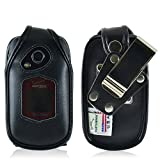 Kyocera DuraXV Plus Flip Phone Fitted Case Turtleback Made in USA (Black Leather / Removable Metal Clip)