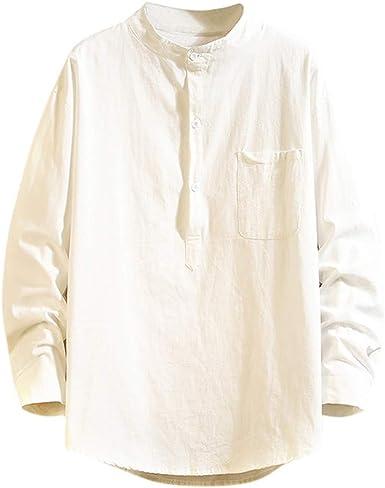 LANSKIRT Camisetas Hombre Originales Divertidas Camisas Casual de Otoño de Manga Larga Polos Color Sólido Invierno Blusa Suelta Sudaderas Sin Capucha Divertidas Talla Grande: Amazon.es: Ropa y accesorios