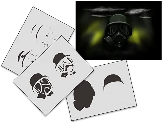 UMR-Design AS-174 gas mask Airbrushstencil Step by Step Size M