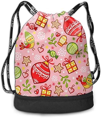 巾着バックパック Bundle Backpack スポーツナップサック クリスマス ピンク 柄 体操服収納 ジムサック 濡れ物用 内ポケット付 巾着袋 収納バッグ 大容量 乾湿分離 シューズ収納 男女兼用 39*41*17.5cm