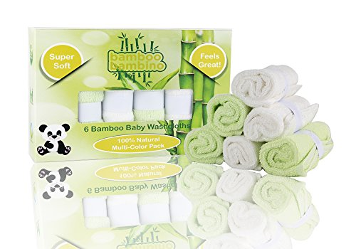 Bamboo Bambino Amazingly Soft Baby Wash Cloths, 100% Natural Bamboo Fibers, 6-Pack, Safe & Eco- Friendly, Great For Home Bath & Travel Bags, Ideal Baby Shower/Registry Gift, Bonus Ebook Included