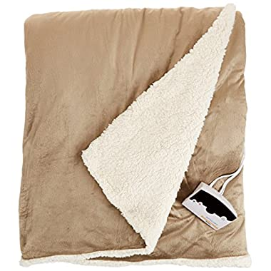 Biddeford 6001-9051136-713 72 by 84-Inch Heated Micro Mink/Sherpa Blanket, Full, Linen
