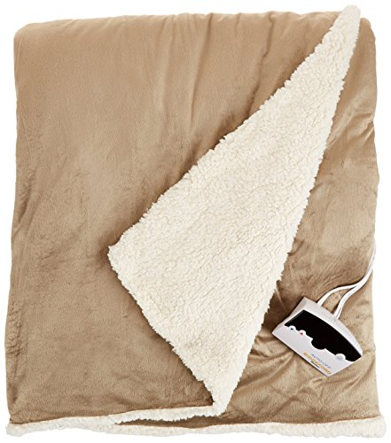 Biddeford 6001-9051136-713 Electric Heated Micro Mink/Sherpa Blanket, Full, Linen