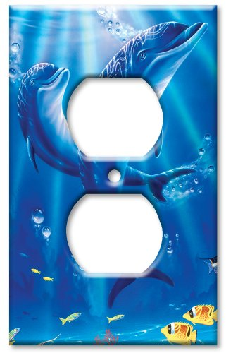 Art Plates - Outlet Cover OVERSIZE Switch Plate - Sunlit - Outlet Dolphin