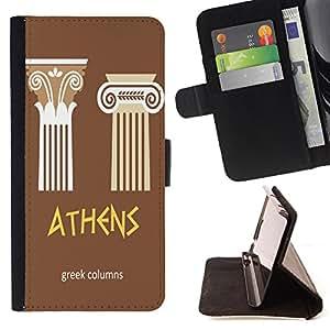 King Case - FOR Samsung Galaxy A3 - the greek columns - Prima caja de la PU billetera de cuero con ranuras para tarjetas, efectivo Compartimiento desmontable y correa para la mu?eca