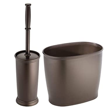 mDesign Toilet Bowl Brush and Wastebasket Trash Can for Bathroom - Set of 2, Bronze