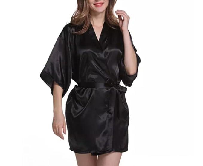 Asrlet Womens Sexy Silk Satin Robes Sleep Dress Kimono Nightwear Babydoll Sleepwear (US 10 (