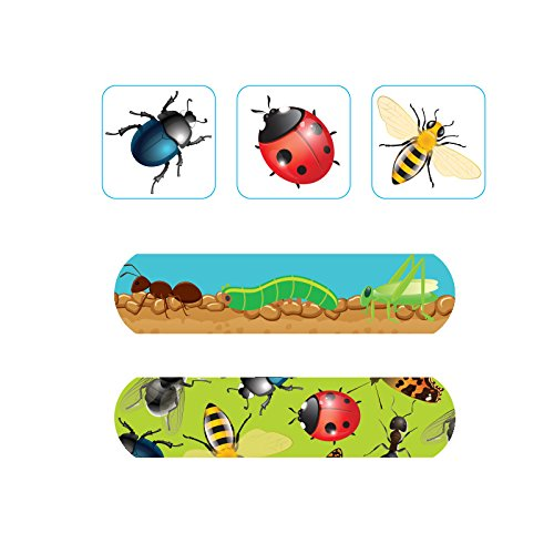 Pack of 60pcs Assorted Breathable Waterproof Variety Pack Cartoon Busy Bugs Adhesive Bandages Hemostasis Band Aid for Children Kids