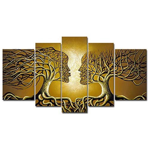 - Wieco Art Brown Human Tree Abstract Oil Paintings on Canvas Wall Art Ready to Hang for Living Room Bedroom Home Decorations Modern 5 Piece 100% Hand Painted Stretched and Framed Contemporary Artwork