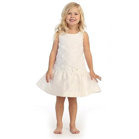 058c81f043e Amazon.com  Angels Garment Little Girls Off-White Taffeta Drop Waist Flower  Girl Dress 3T  Clothing