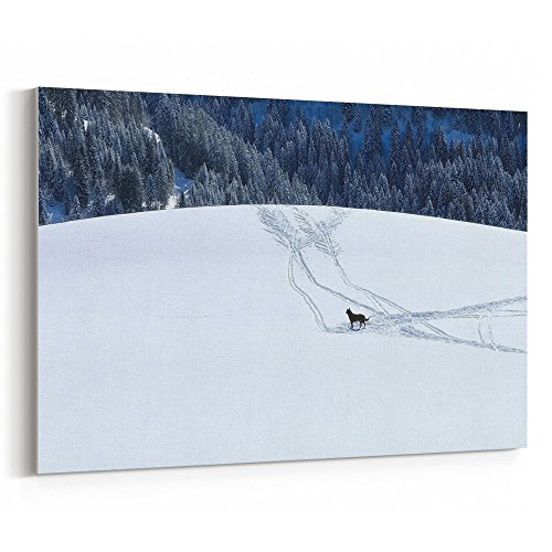 Westlake Art Canvas Print Wall Art - Alps Snow on Canvas Stretched Gallery Wrap - Modern Picture Photography Artwork - Ready to Hang - 18x12in (59d bdc) - Edge Telemark Skis