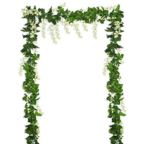 26.3 Ft Artificial Flowers Silk Wisteria Vine Ivy Greenery Rattan Garland Hanging Plants for Home Kitchen Indoor Outdoor Party Ceremony Wedding Arch Floral Decor