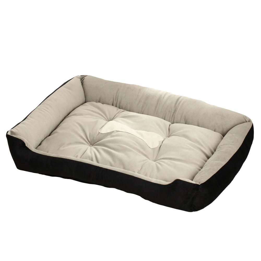 Black S Black S BIBSS Extra Small to Extral Large Cozy Bolster Pet Bed with Cute Bone Pattern for Small Medium Large Dog and Cat (S, Black)