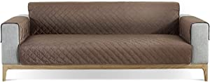 Lamberia Quilted Sofa slipcover Water Resistant Couch Cover Washable Sofa Cover Loveseat Cover Couch Furniture Protector with Adjustable Elastic Straps for Kids, Dogs&Pets(Coffee,Medium)