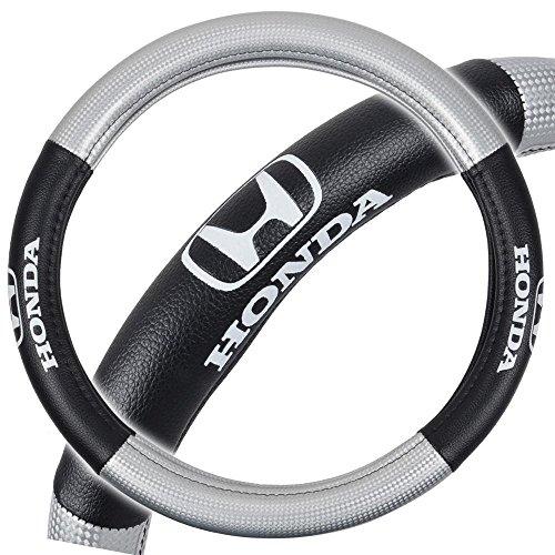 "Honda Premium Synthetic Leather Steering Wheel Cover- Car Truck SUV & Van, Medium 14.5""-15.5"", 100% Odorless Material, Auto Interior Accessories - by Infinity Stock (Silver/Black, Medium)"