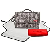 Pronto Signature Portable Changing Mat, Cushioned Diaper Changing Pad with Built-In Pillow, Grey Feather