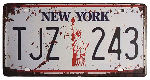 (ERLOOD New York TJZ 243 Retro Vintage Auto License Plate Home Wall Decor Metal Tin Sign Plaque Embossed Tag Size 6 X 12)