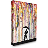 The Stupell Home Decor Collection Melting Colors Rainbow Rain Drops Umbrella Dancing Silhouette Stretched Canvas Wall Art, 30x40, Multi