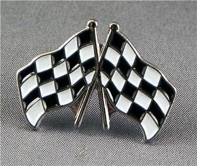 Crossed Chequered Flags Enamel Pin Badge with Gift Pouch