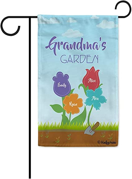 Amazon Com Kafepross Custom Grandma S Garden Flag For Outside Featuring The Names Of Her Children And Grandchildren With 4 Flowers 12 5 X 18 Inch Printed Double Sides Garden Outdoor