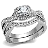 Vip Jewelry Co 1.90 Ct Halo Round Cut AAA Cz Stainless Steel Women's Infinity Wedding Ring Set (8)