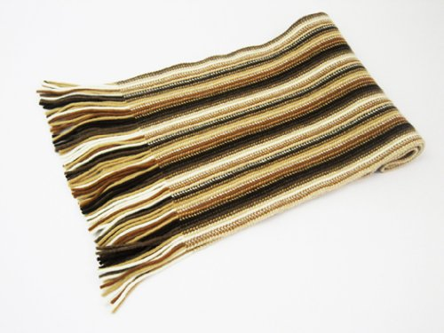 Oxfords Cashmere 2 ply Pure Cashmere Ladies Stripe Scarf, Camel-One Size by Oxfords Cashmere