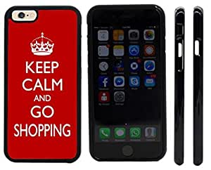 Rikki KnightTM Keep Calm and Go Shopping - Red Color Design iPhone 6 Case Cover (Black Rubber with front bumper protection) for Apple iPhone 6