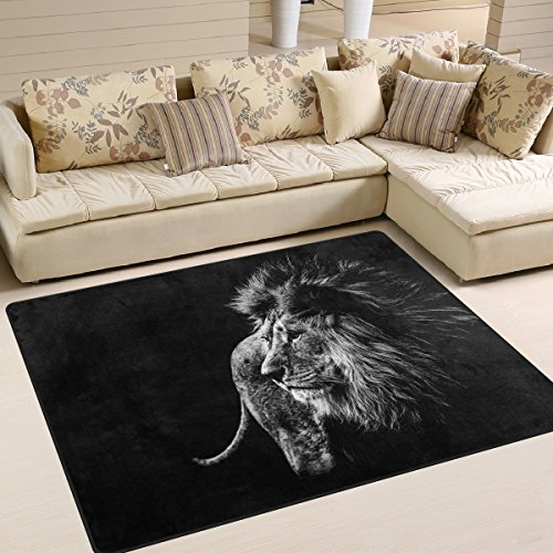 Naanle Animal Lion Area Rug 5'x7', Lion in Black and White Polyester Area Rug Mat for Living Dining Dorm Room Bedroom Home Decorative